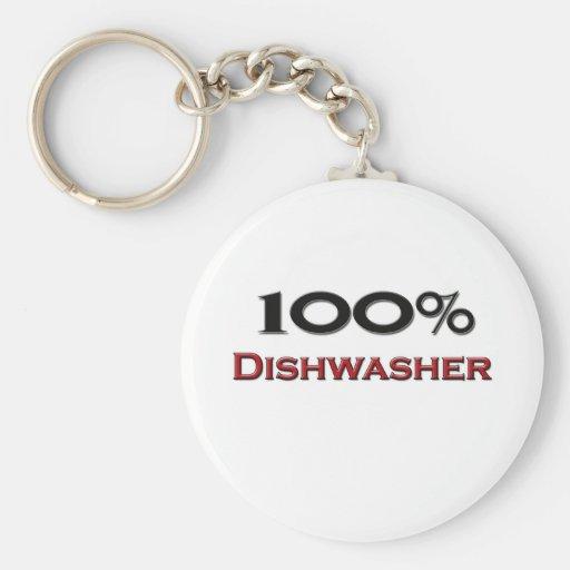 100 Percent Dishwasher Basic Round Button Key Ring