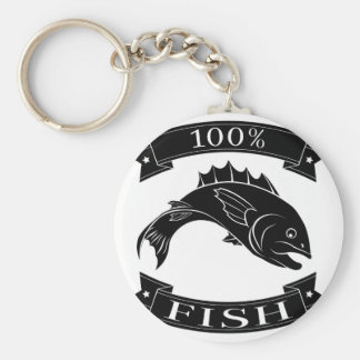 100 percent fish food label keychain