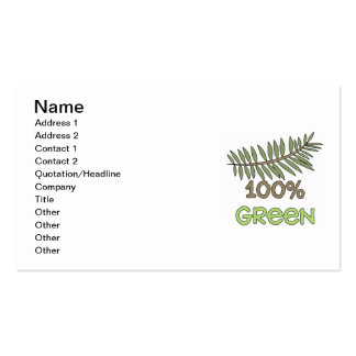 100 Percent Green T-shirts and Gifts Pack Of Standard Business Cards