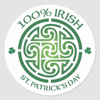 100 Percent Irish Celtic Medallion Round Sticker