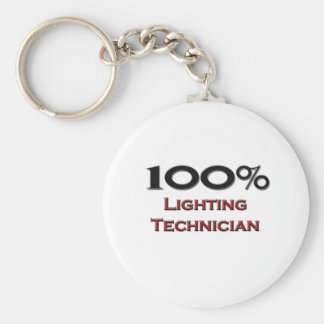 100 Percent Lighting Technician Basic Round Button Key Ring