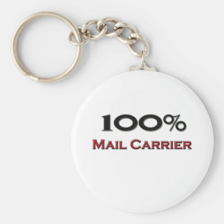 100 Percent Mail Carrier Basic Round Button Key Ring