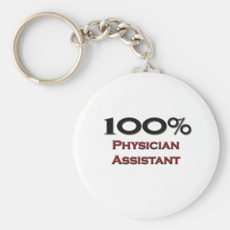 100 Percent Physician Assistant Basic Round Button Key Ring