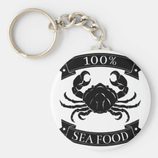 100 percent seafood food label keychains