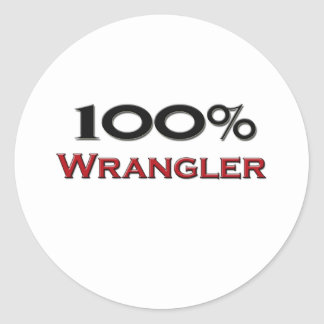 100 Percent Wrangler Round Sticker