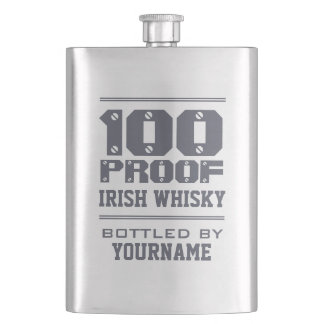 """100 PROOF IRISH WHISKY"" custom monogram flask"