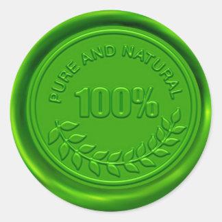 100% Pure & Natural Wax Seal Round Sticker