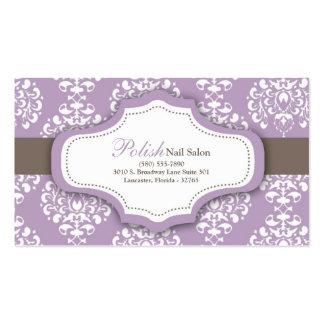 100 Purple Damask Nail Technician Business Card