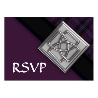 100 Purple Scotish Tartan with Celtic Badge RSVP Pack Of Chubby Business Cards