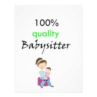 100 quality babysitter personalized flyer