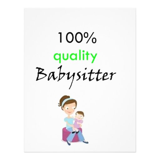 100% quality babysitter personalized flyer