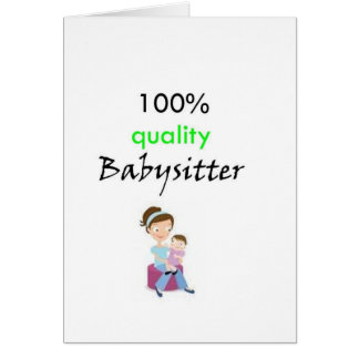100 quality babysitter greeting card