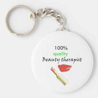 100% quality beauty therapist basic round button key ring