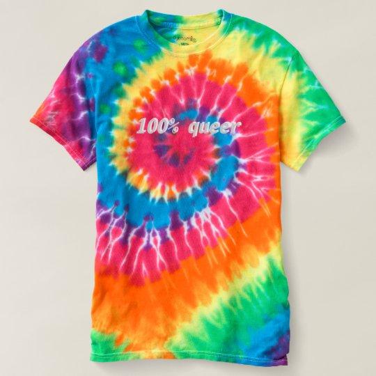 100% queer tie-dye shirt