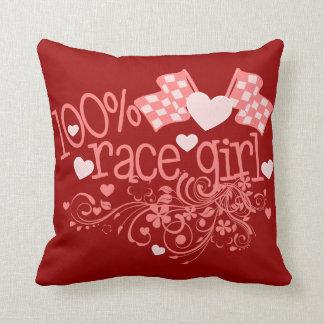 100% Race Girl Design Throw Pillow