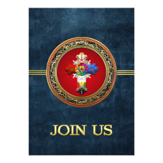 100 Rosy Cross Rose Croix on Red Gold Personalized Invitation