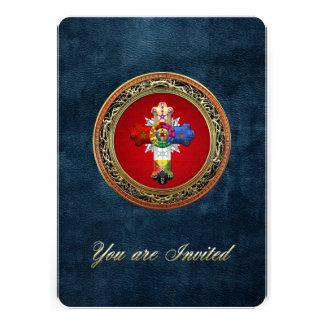 100 Rosy Cross Rose Croix on Red Gold Custom Invitation
