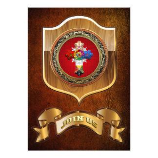 100 Rosy Cross Rose Croix on Red Gold Custom Invite