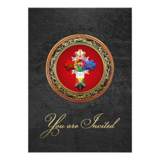 100 Rosy Cross Rose Croix on Red Gold Personalized Invites