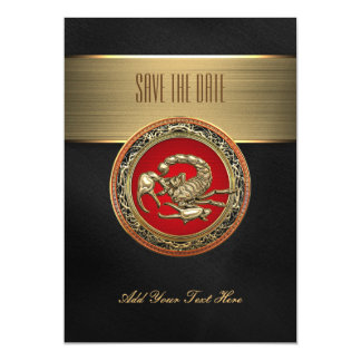 [100] Sacred Golden Scorpion on Red Magnetic Invitations