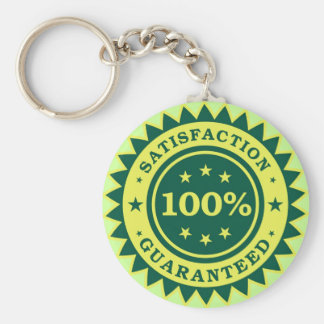 100% Satisfaction Guaranteed Sticker Basic Round Button Key Ring