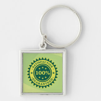 100% Satisfaction Guaranteed Sticker Silver-Colored Square Key Ring