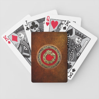 [100] Serpent God Quetzalcoatl [Gold] Bicycle Playing Cards