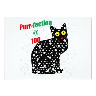 100 Snow Cat Purr-fection 13 Cm X 18 Cm Invitation Card