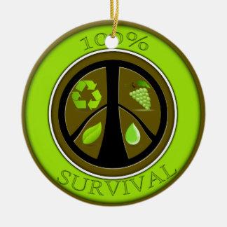 100% Survival Prepper Eco Design Round Ceramic Decoration