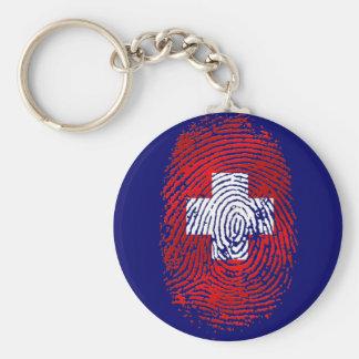 100% Swiss DNA fingerprint Switzerland flag gifts Key Ring