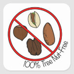 100% Tree Nut Free Square Stickers