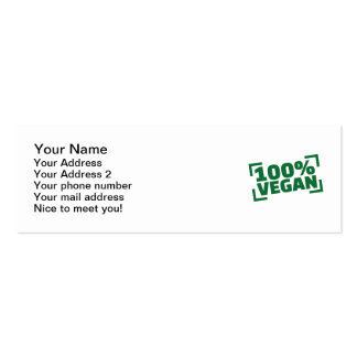 100% Vegan Pack Of Skinny Business Cards