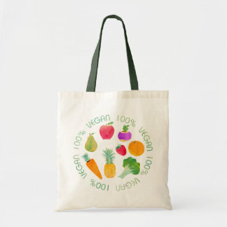 100% Vegan Fruit and Vegetable Watercolor Veggie Budget Tote Bag