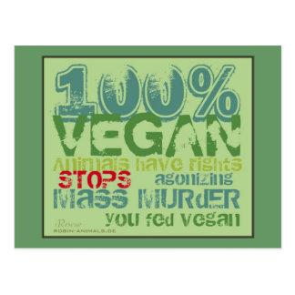 100% VEGAN -. - stops agonizing measured more Postcard