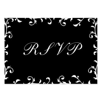 100 Wedding RSVP Cards, Black Transparent Template Pack Of Chubby Business Cards