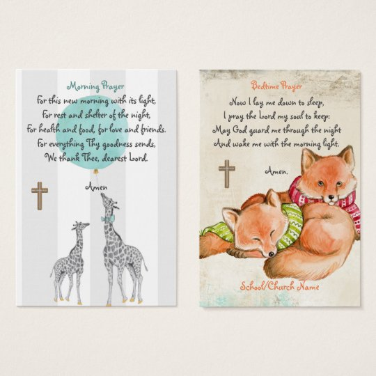 100 x Children's Morning Evening Kids Prayer Cards
