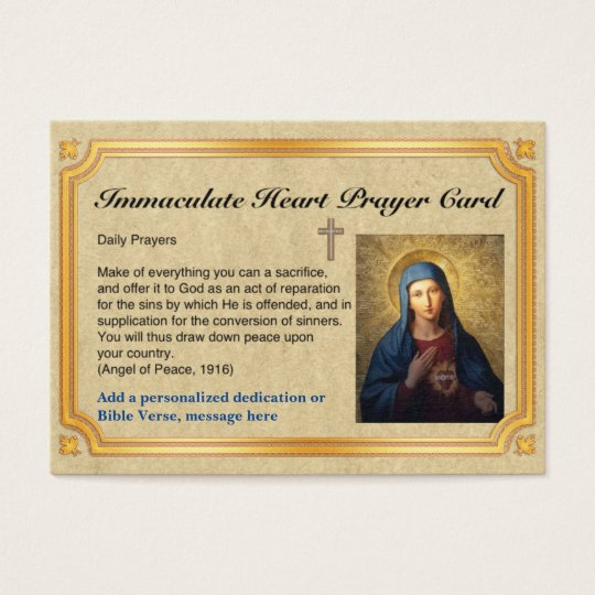 100 x Immaculate Heart Prayer Cards Personalised