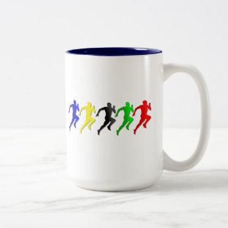 100m 200m 400m 800m Runners Running Run Two-Tone Mug