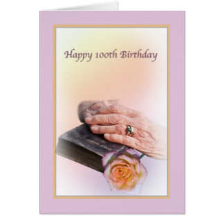 100th Birthday, Aged Hands and Bible Greeting Card