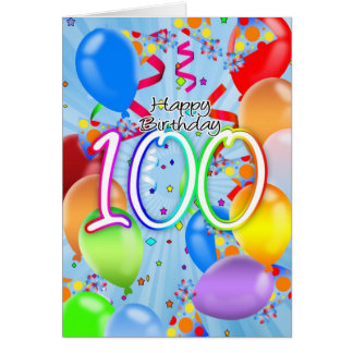 100th Birthday - Balloon Birthday Card - Happy Bir