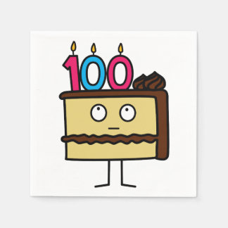 100th Birthday Cake with Candles Paper Serviettes