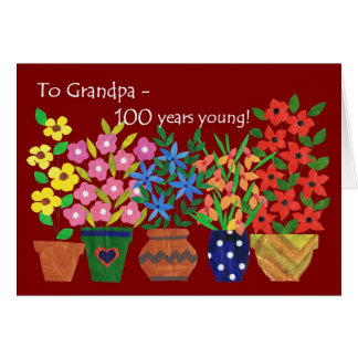 100th Birthday Card for Grandfather - Flower Power