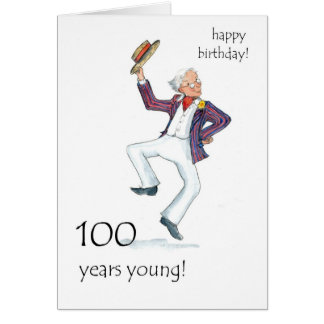 100th Birthday Card - Man Dancing!