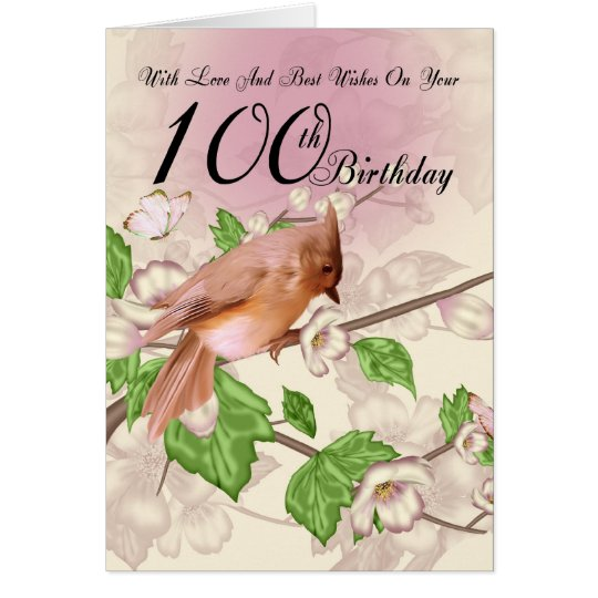 100th Birthday Card With Bird And Blossom