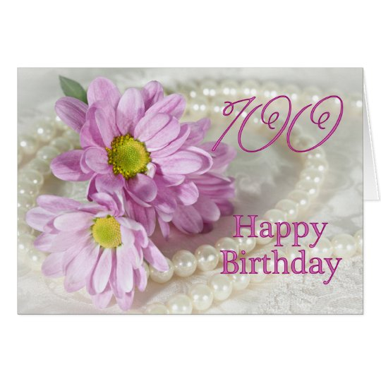 100th Birthday card with daisies