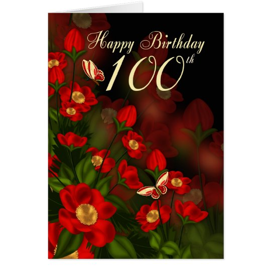 100th Birthday Card With Deep Red Flowers