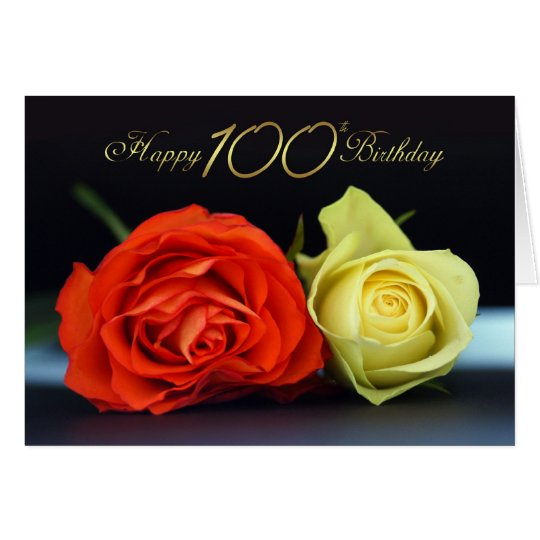 100th Birthday Card With Orange And Cream Roses