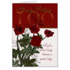 100th Birthday Card With Roses