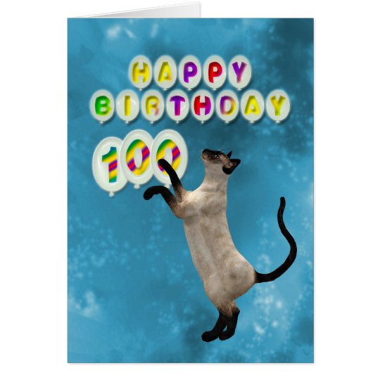 100th Birthday card with siamese cats