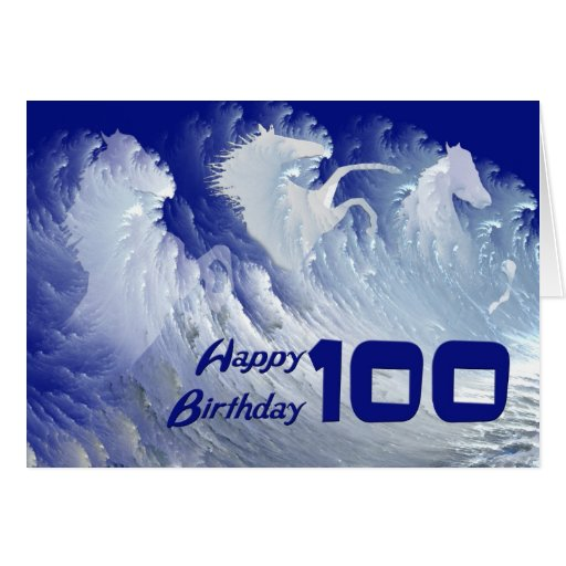 100th birthday card with wild white surf horses
